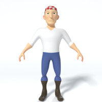 cartoon pirate 3d obj