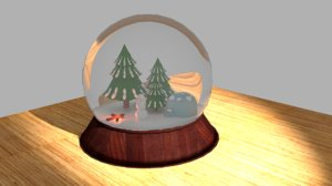 3d christmas snow globe model