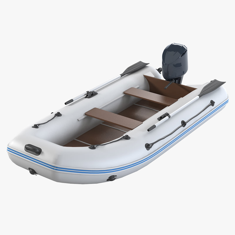 motor rubber boat 3d model