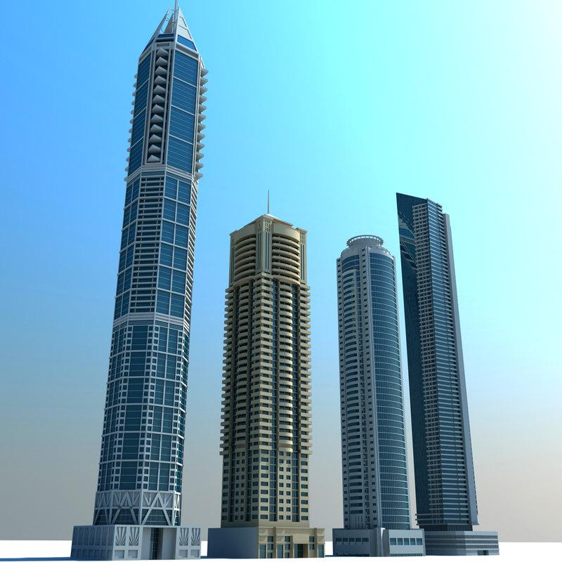 3d dubai marina towers 01 model