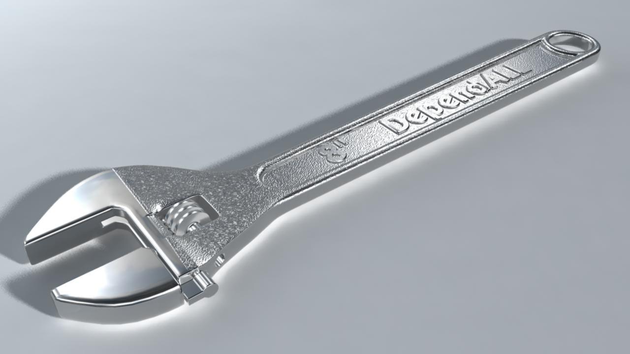 3d model adjustable wrench