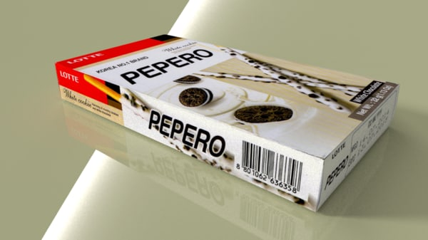 lotte pepero white cookies 3d blend