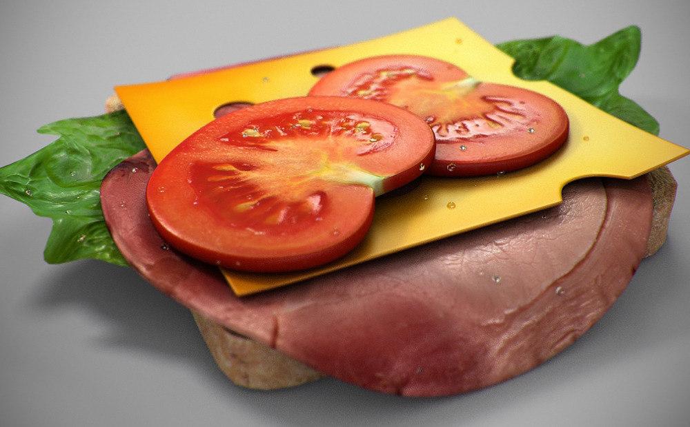 sandwich tomato ham 3d model