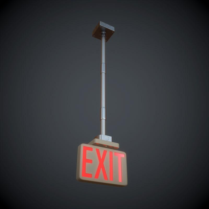 3d max hanging exit sign