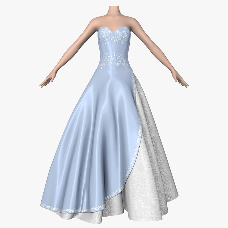3d wedding dress 010 female shoes model