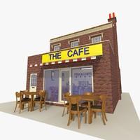 3d model cafe restaurant 2 exterior