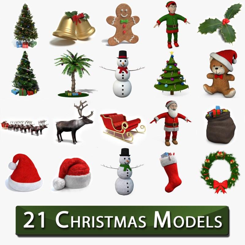 3dsmax christmas tree 2 santa sleigh