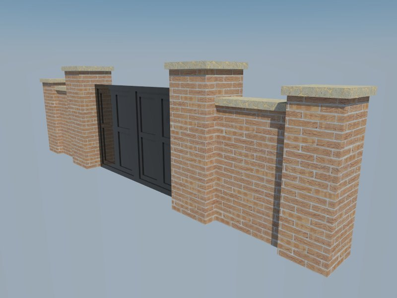 brick gate 3d 3ds