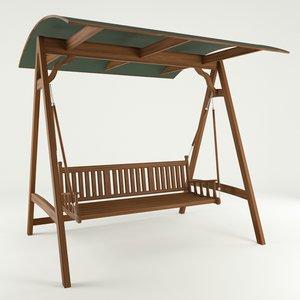 3d wooden garden swing model