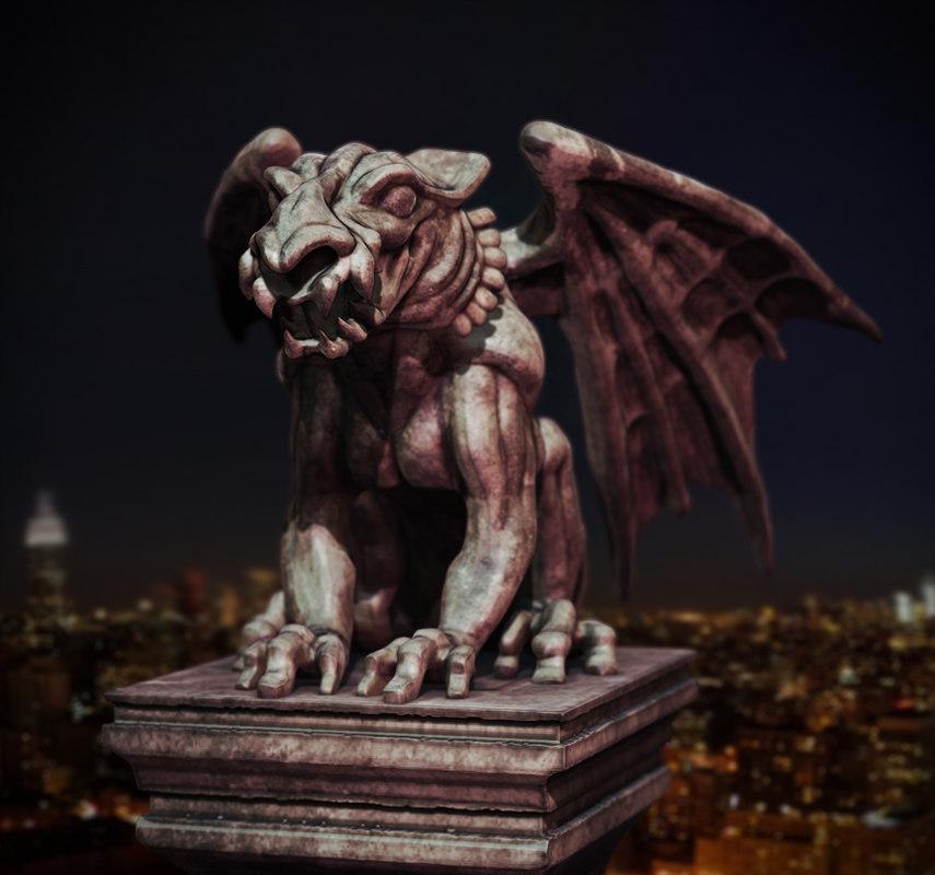 3d model lion gargoyle