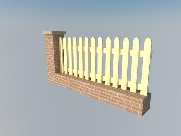 fence brick wall 3d model