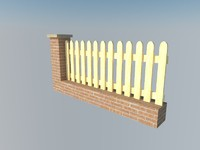 fence brick wall 3d model