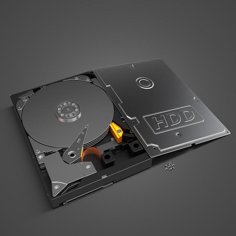 hard disk drive hdd 3d model