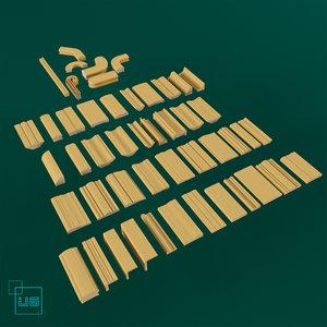 3d wooden elements wood