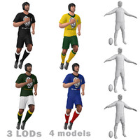 3d model rigged rugby player
