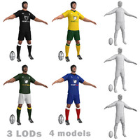 3d rugby players model