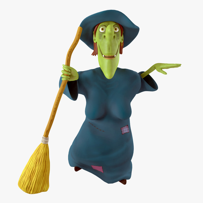 3d cartoon witch rigged
