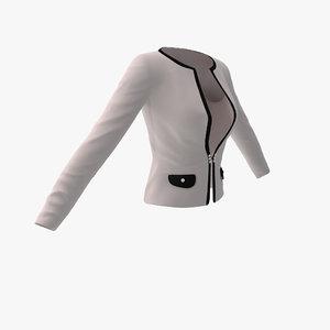 womens white office jacket 3d model