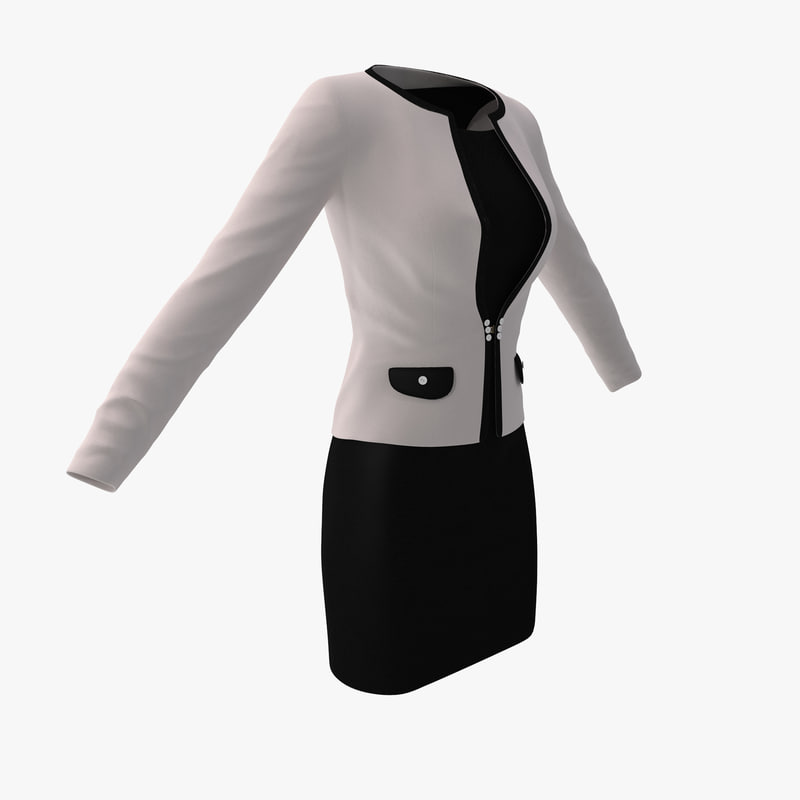c4d white womens office suit