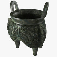 bronze ritual cauldron 3d model