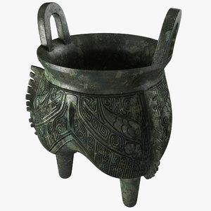 bronze ritual cauldron 3d model