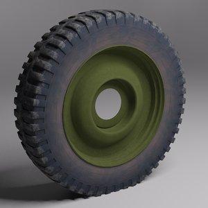 wheel military vehicle 3d model