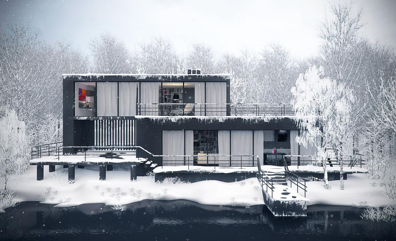 3d winter house model