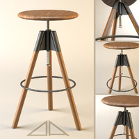 adjustable bar stool 3d obj