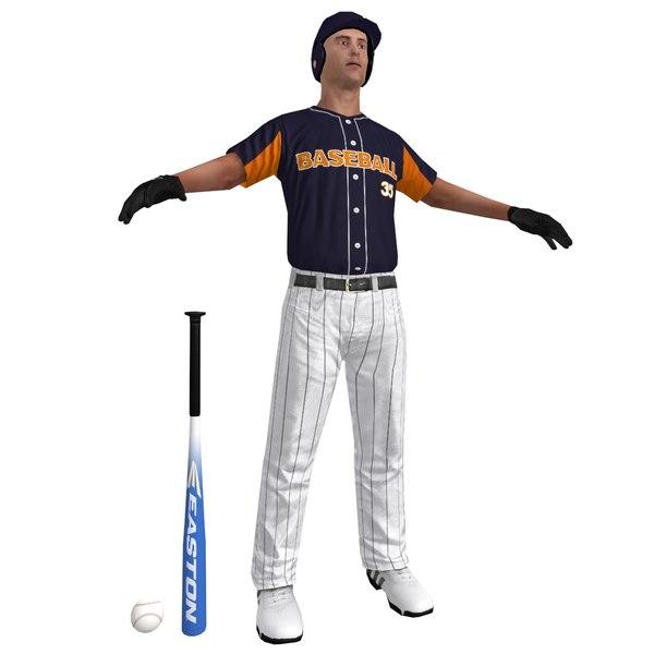 baseball player 4 ball 3d max