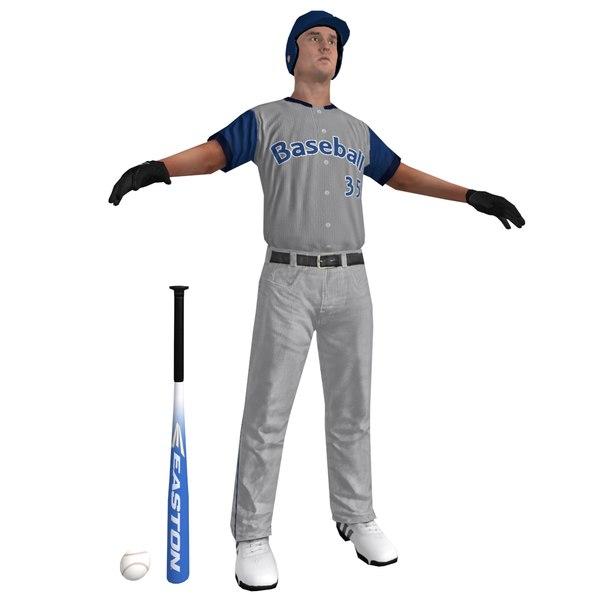 3d baseball player ball