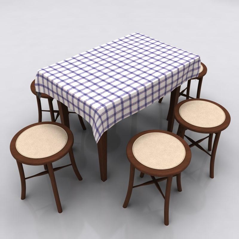table stool kitchen 3d obj