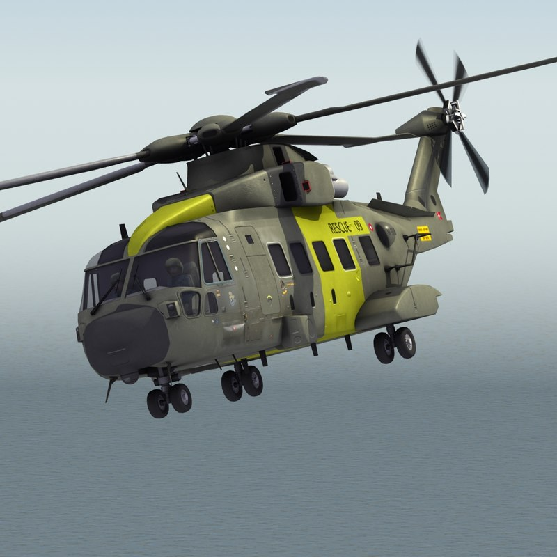 merlin joint support helicopter 3ds
