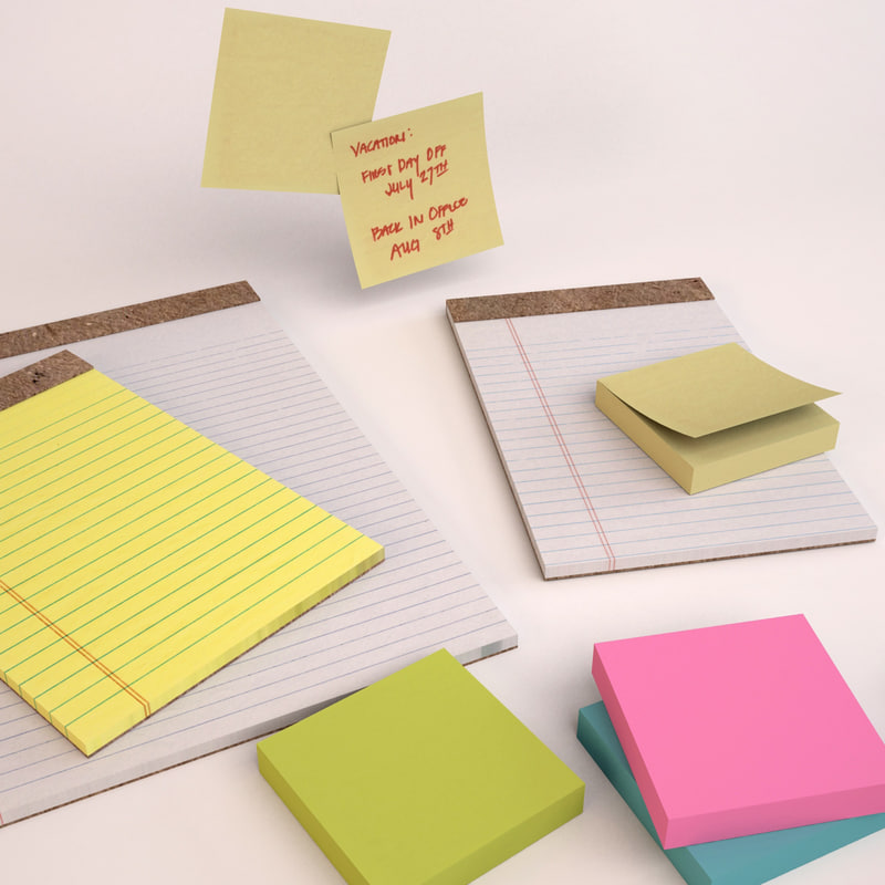 3ds max legal pads sticky notes