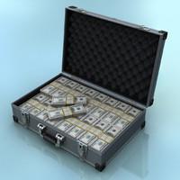 cash suitcase 3d max