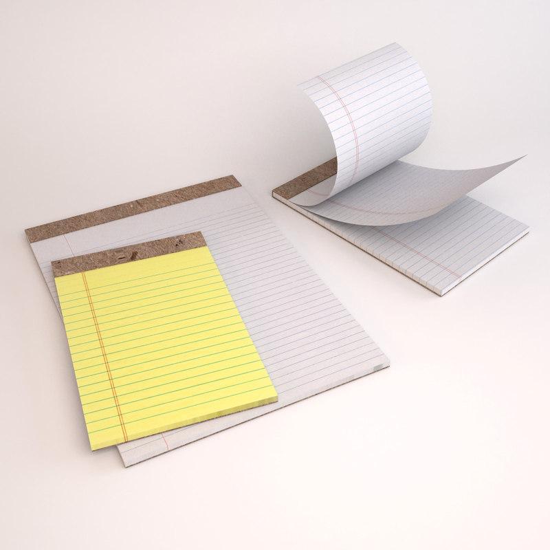 legal pads paper 3d 3ds