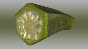 okra abelmoschus esculentus half 3d ma