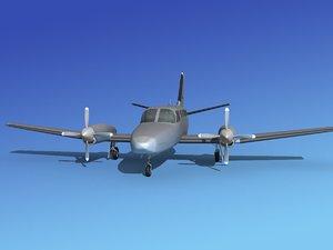 propellers cessna 441 conquest 3d 3ds