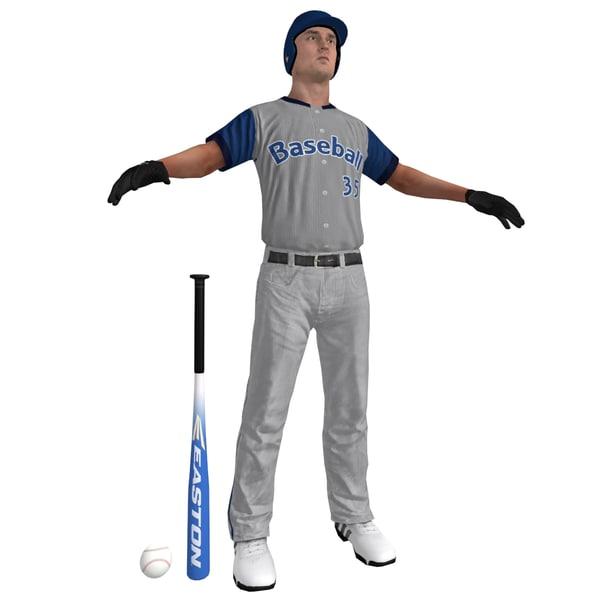 3d baseball player ball model
