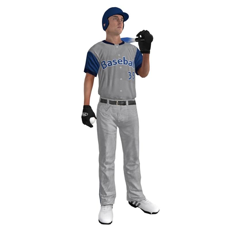 3d model rigged baseball player ball