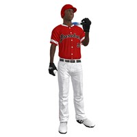 3d model rigged baseball player ball