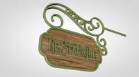 street restaurant sign c4d