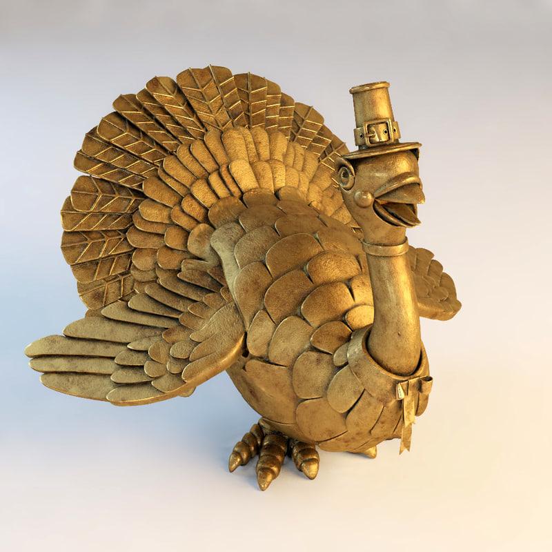3d mechanical turkey statuette model