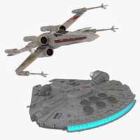 3d model x-wing starfighter millennium