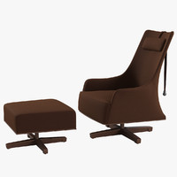 Giorgetti Mobius Swivel Wing Chair& Pouf