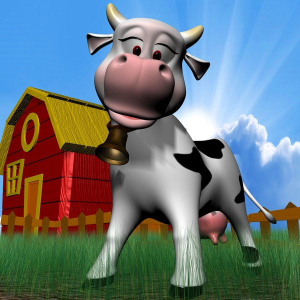3d cute cow rigged