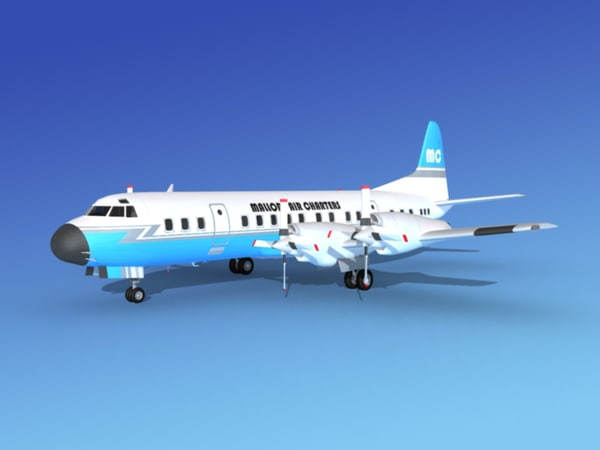 3d model propellers electra lockheed charter