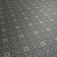 Floor Tile Black Yellow Blue