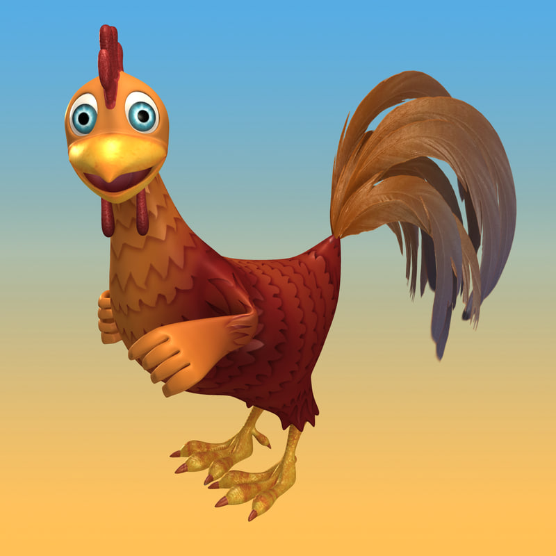 3d model of cartoon rooster rigged