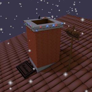 3d chimney santa claus