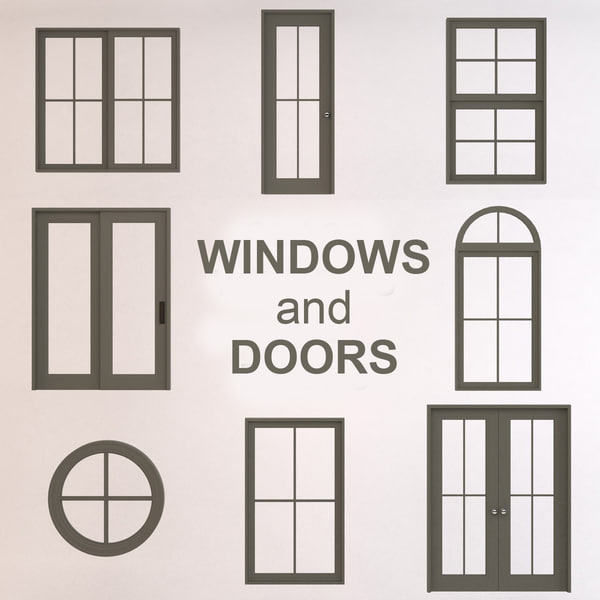 3d glass windows doors model